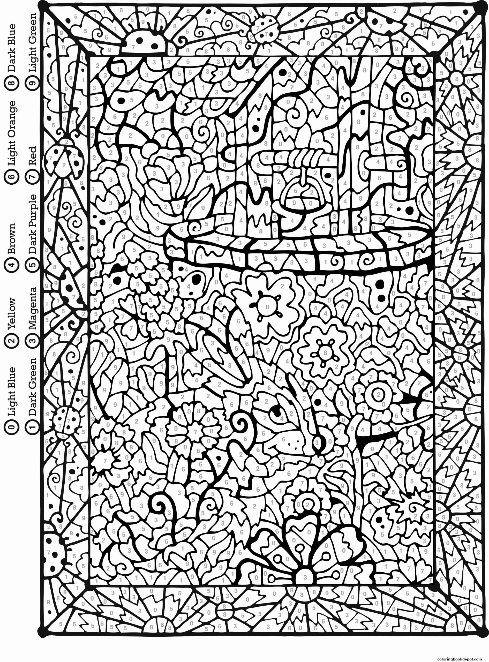 List Of Difficult Color By Number Coloring Pages For Adults