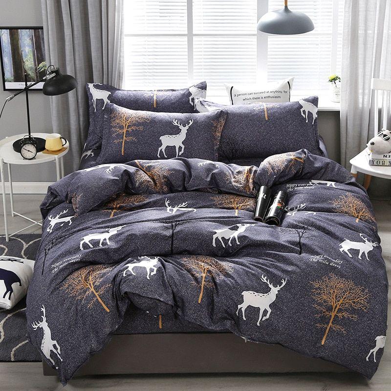 Black Bedding Set Nordic Duvet Cover 220x240 Queen King Single Size Star Leaf Bedclothes Bed Sheet Pi Grey Comforter Sets Comforter Sets Patterned Bedding Sets