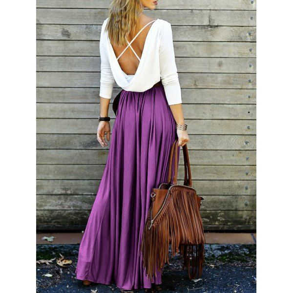 Back Plunging V Criss-Cross Spliced Maxi Dress #Dress #MaxiDress #FashionDress #Style