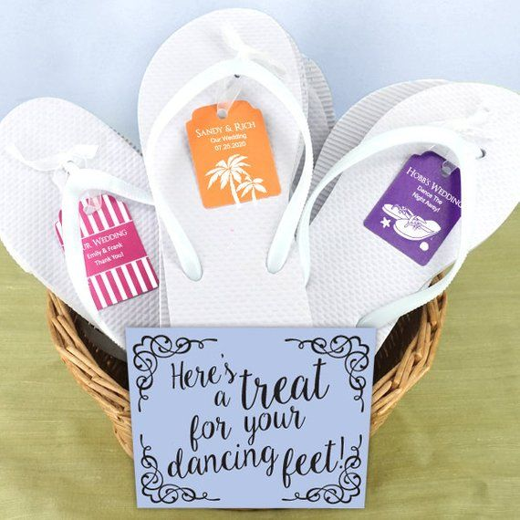 a92220cae Party White Flip Flops Set with Personalized Kraft Tag - Set of 6, Includes  Assorted Sizes