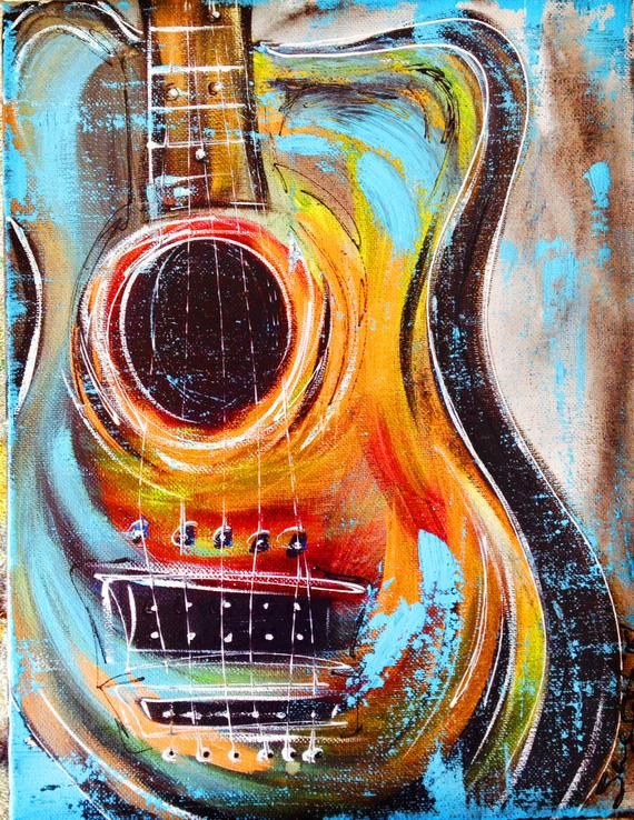 Colorful Guitar Art, with slight distressing on edges by Sheila A. Smith