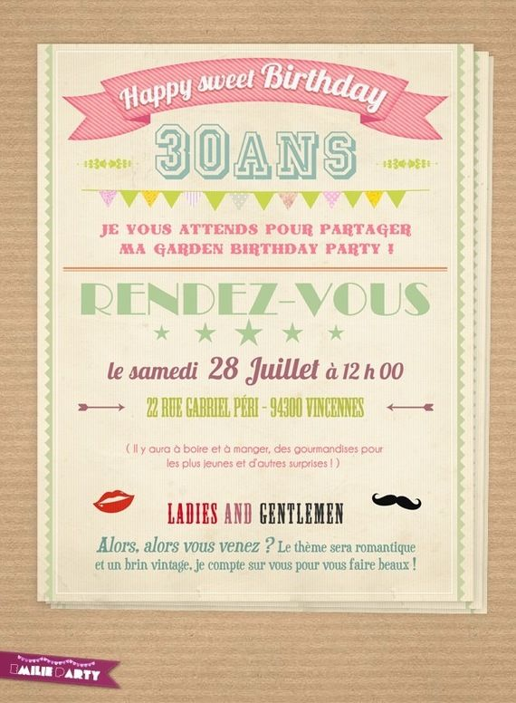 carte d 39 invitation anniversaire r tro pour mes loulous pinterest birthdays 30th and scrap. Black Bedroom Furniture Sets. Home Design Ideas