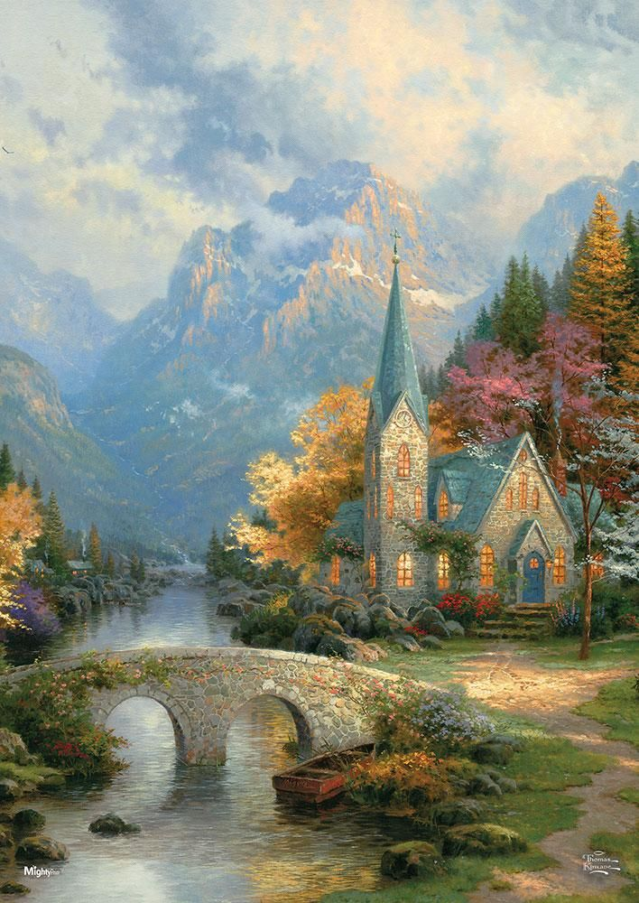 Thomas Kinkade (The Mountain Chapel) MightyPrint Wall Art ...