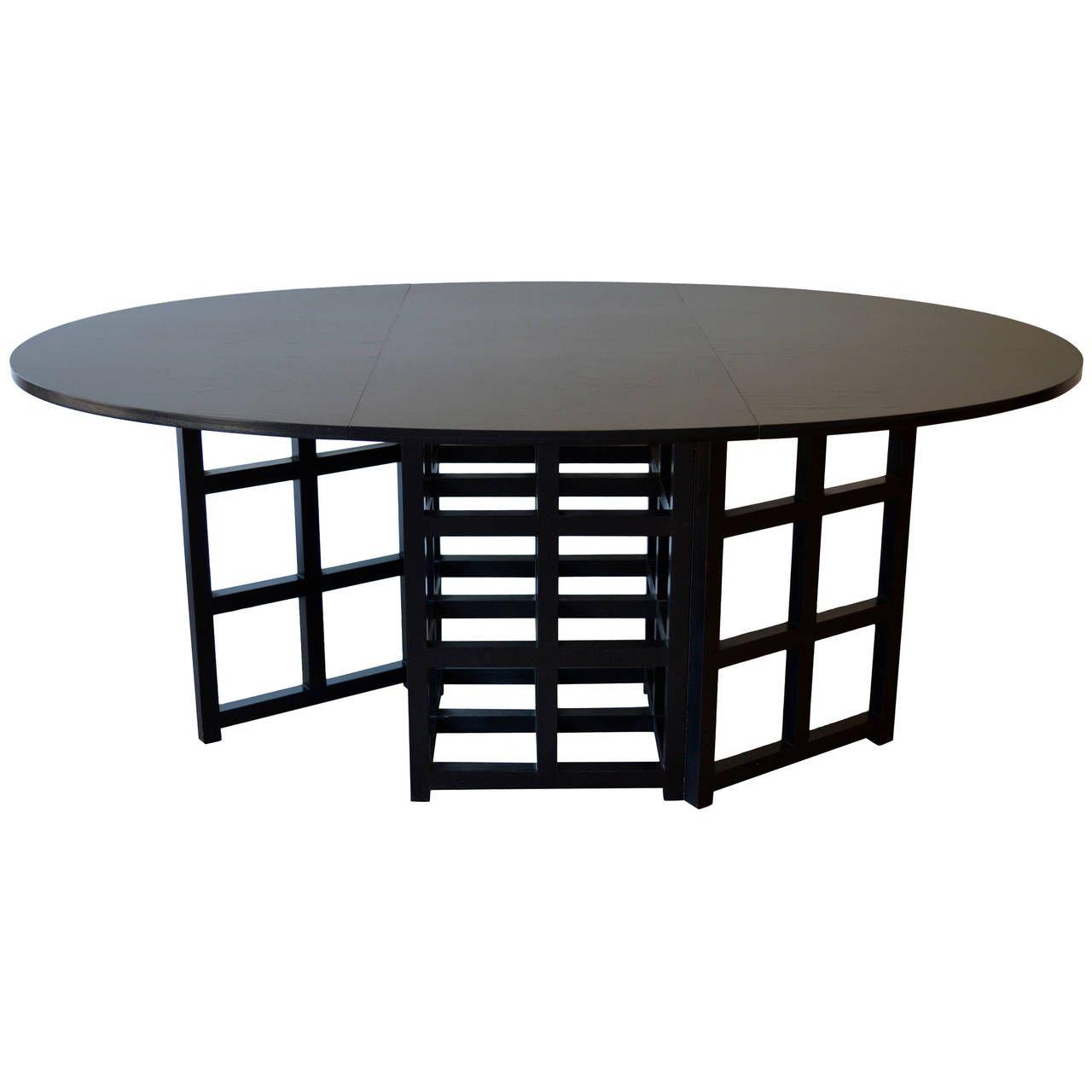 Oval Black Drop Leaf Dining Table By Charles Rennie Mackintosh 1