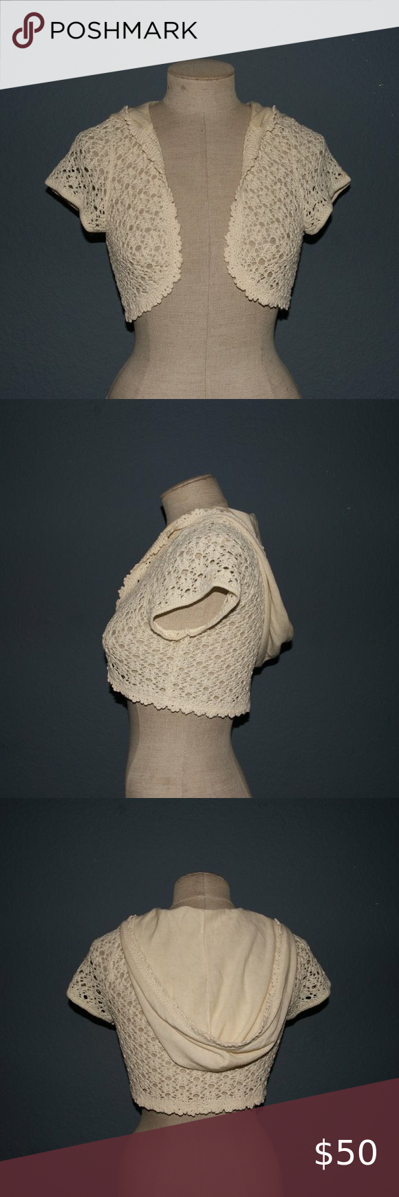Anthro MOTH Cream Crochet Bolero Shrug Sweater S in 2020