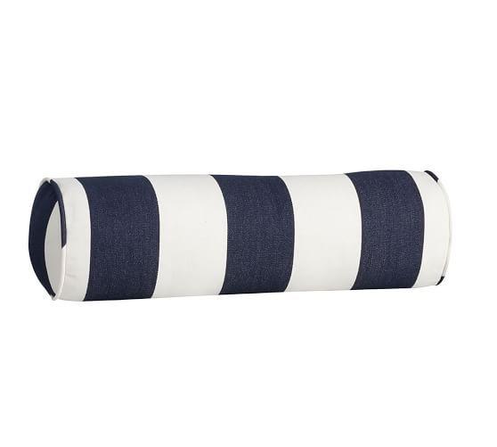 PB Classic Stripe Indoor/Outdoor Bolster Pillow, 7.5 x 24