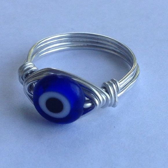 Happy acrylic wire wrapped ring