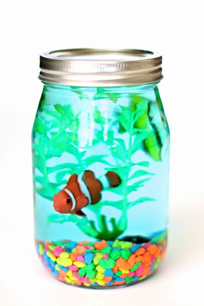 Diy Glass Mason Jar Aquarium Creative Craft Idea Mason Jar Diy Aquarium Craft Jar Crafts