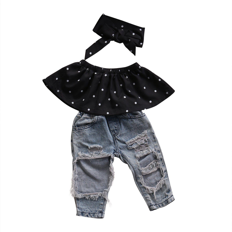 1135b472a3c Fashion Kids Girls Off Shoulder Polka Dot Tops +Hole Jeans Pants Denim  +Headband 3Pcs Clothes Outfits Set