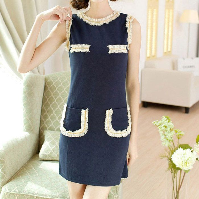 Lace Splicing Ladylike Style Scoop Neck Color Block Slimming Women's DressSummer Dresses | RoseGal.com