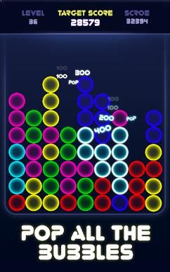 Tap two or more Bubbles of the same color to score
