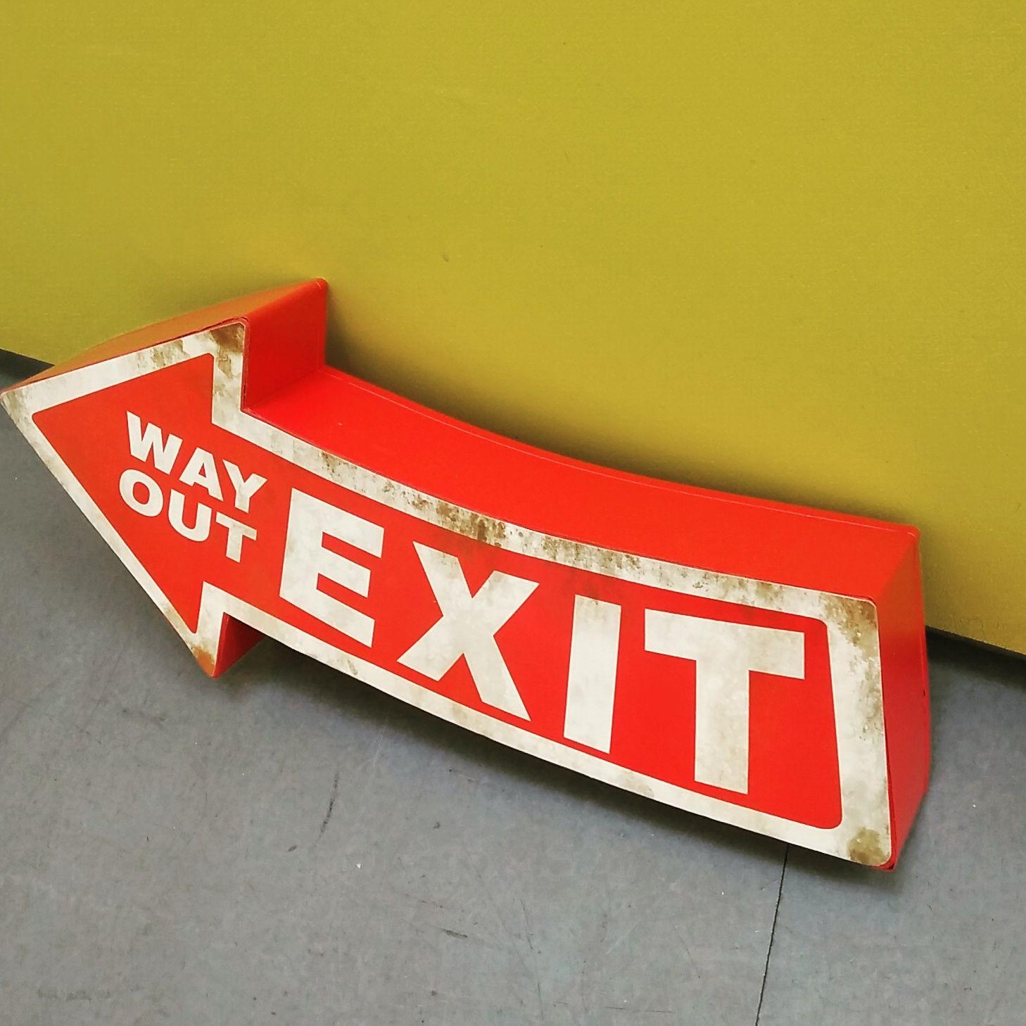 Exit Wayout Wallsign Metal Arrow Metallschild Pfeil Ausgang