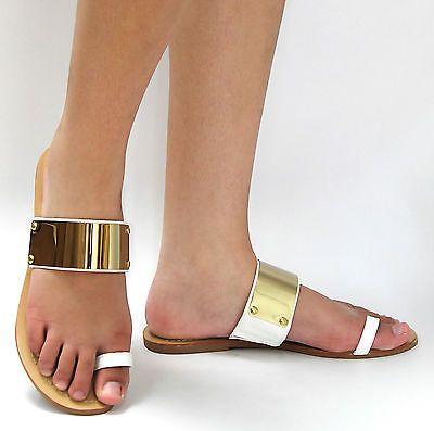 New Women White Gold Metal Plate Toe