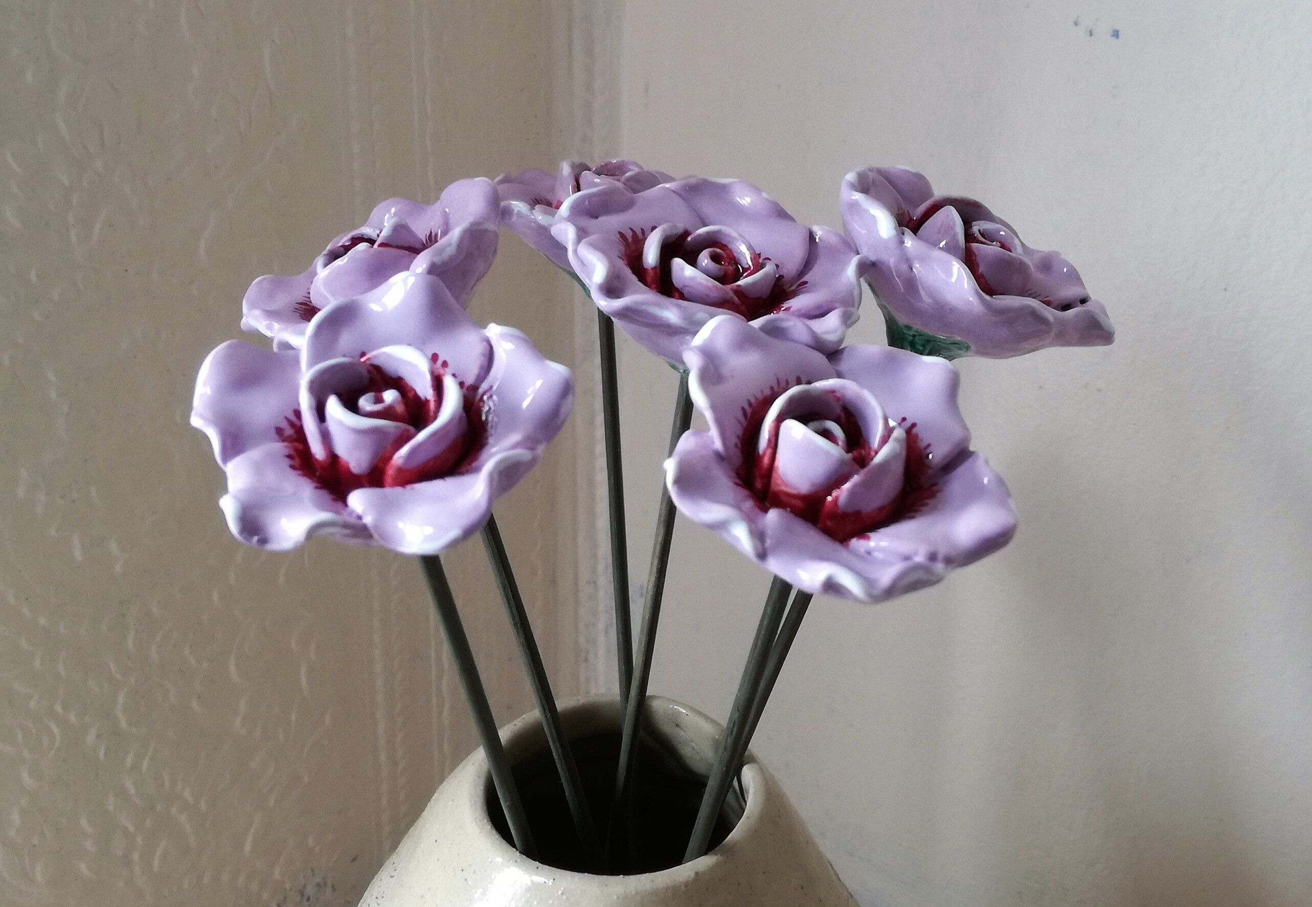 Ceramic purple roses ceramic flowers handmade flowers