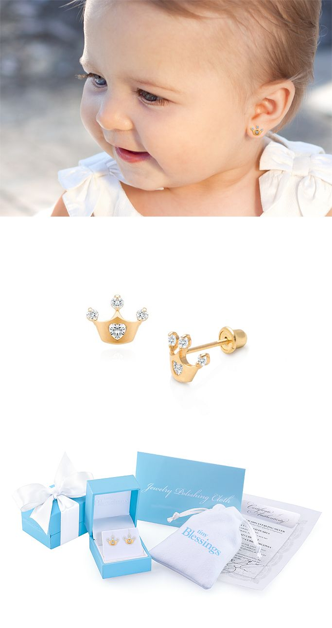 Princess at heart clear cz babychildrenus earrings screw back