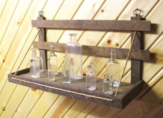 Rustic wooden wall shelf primitive handmade of reclaimed old wood on ...