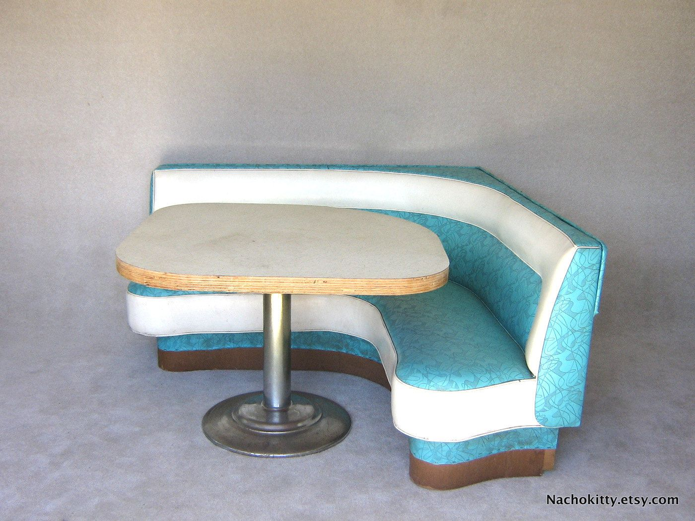 1950s diner booth original boomerang vinyl formica grey table 1 via etsy my dream - Booth tables for kitchen ...