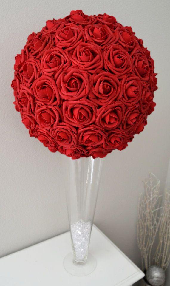 Red Flower Ball Red Wedding Centerpiece Red Kissing Ball Etsy Wedding Centerpieces Diy Red Red Centerpieces Red Wedding Centerpieces