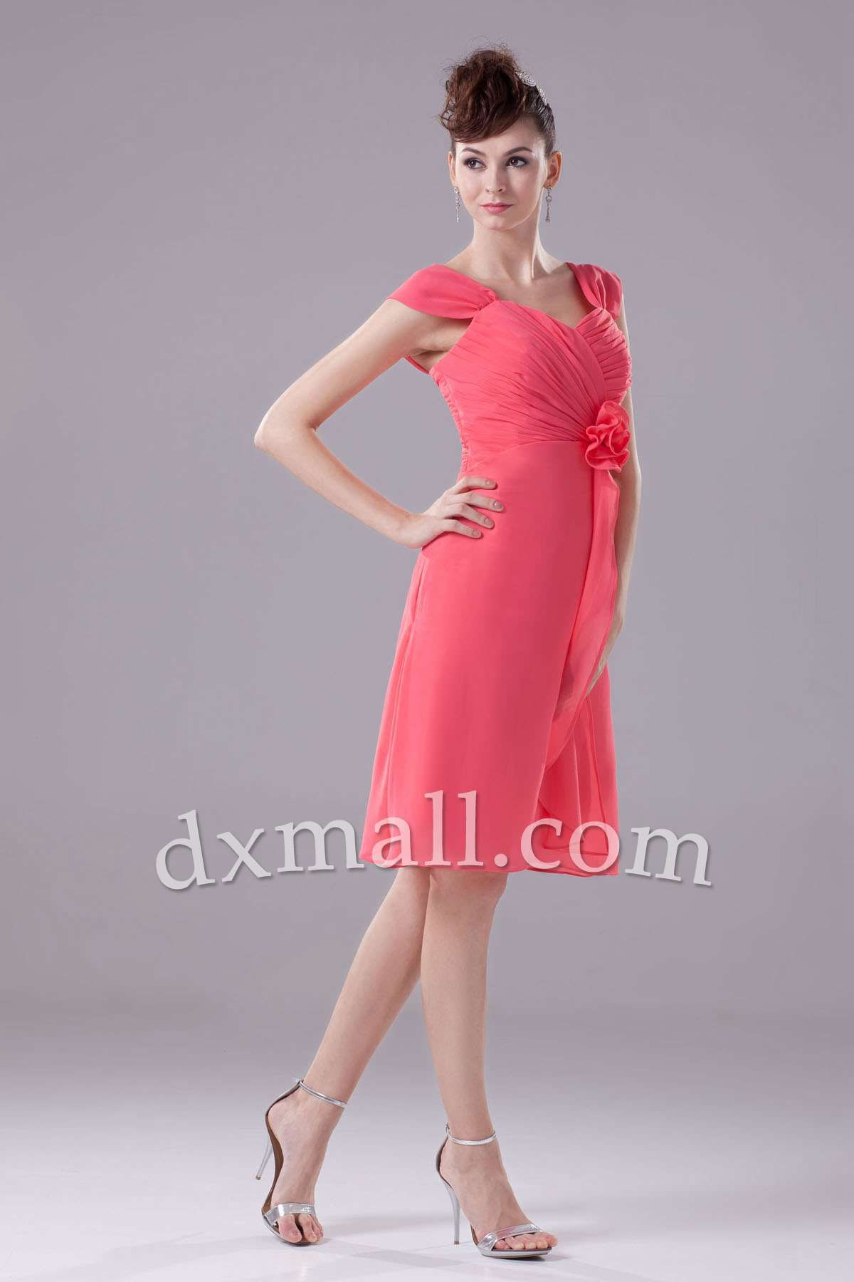 Short wedding guest dresses straps knee length chiffon picture shown