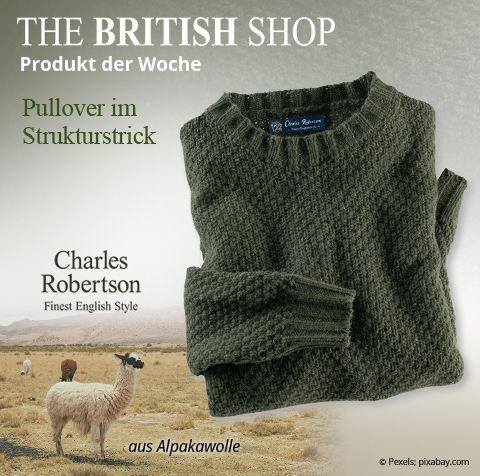 ... THE BRITISH SHOP Meckenheim. Unser Lieblingsprodukt der Woche ist  dieser Alpaka-Pullover in Grün von Charles Robertson. Er acd59606a27