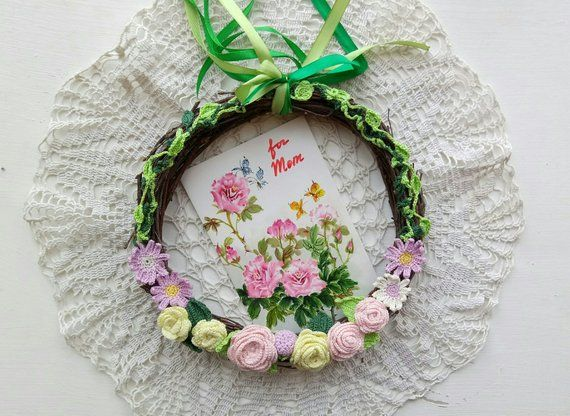 Photo of Wreath Spring Crochet Wreath Rustic Wall Wreath Crochet Flowers Wreath Crochet Birthday Gift Housewarming Gift Natural Branches RusticStyle