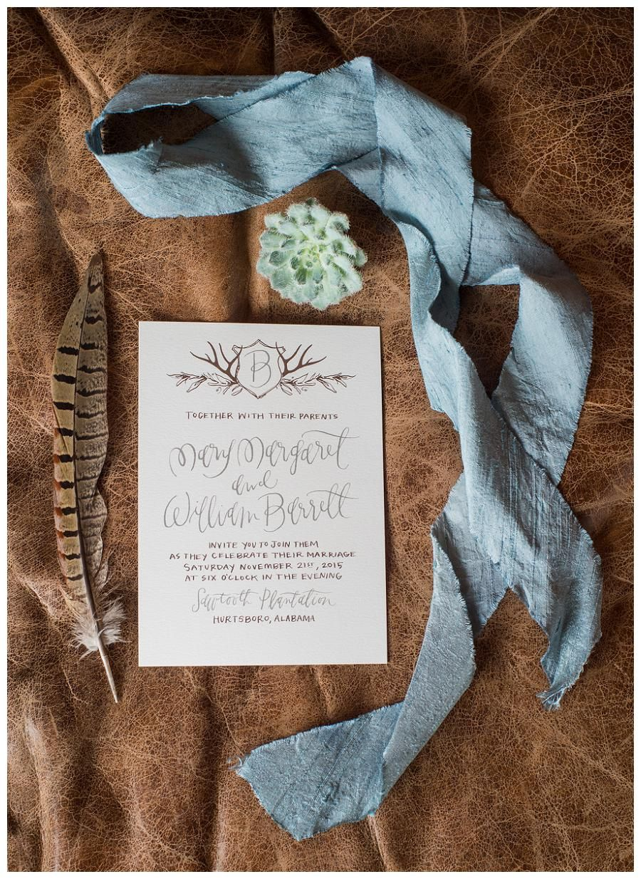 Rustic Wedding Invitation With Initial Monogram With Antler Detail