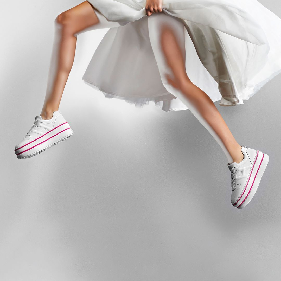 065c48883 Pink and white flash on the #HOGAN #SS19 women's #H449 #sneakers  Advertising Campaign shot by Giovanni Gastel Discover #HoganSneakers on  HOGAN.COM