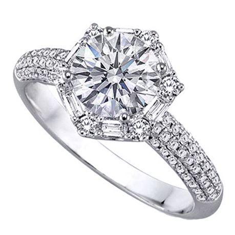 Hex Baguette Halo Engagement Ring