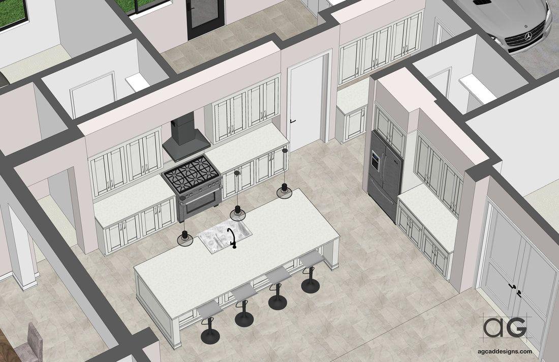 Custom Bespoke Interior Kitchen Island Cabinets Design Sketchup 3d