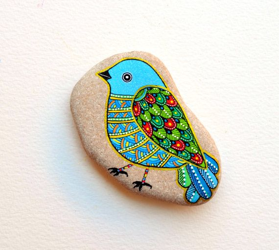 RESERVED for K*** Hand Painted Stone Bird