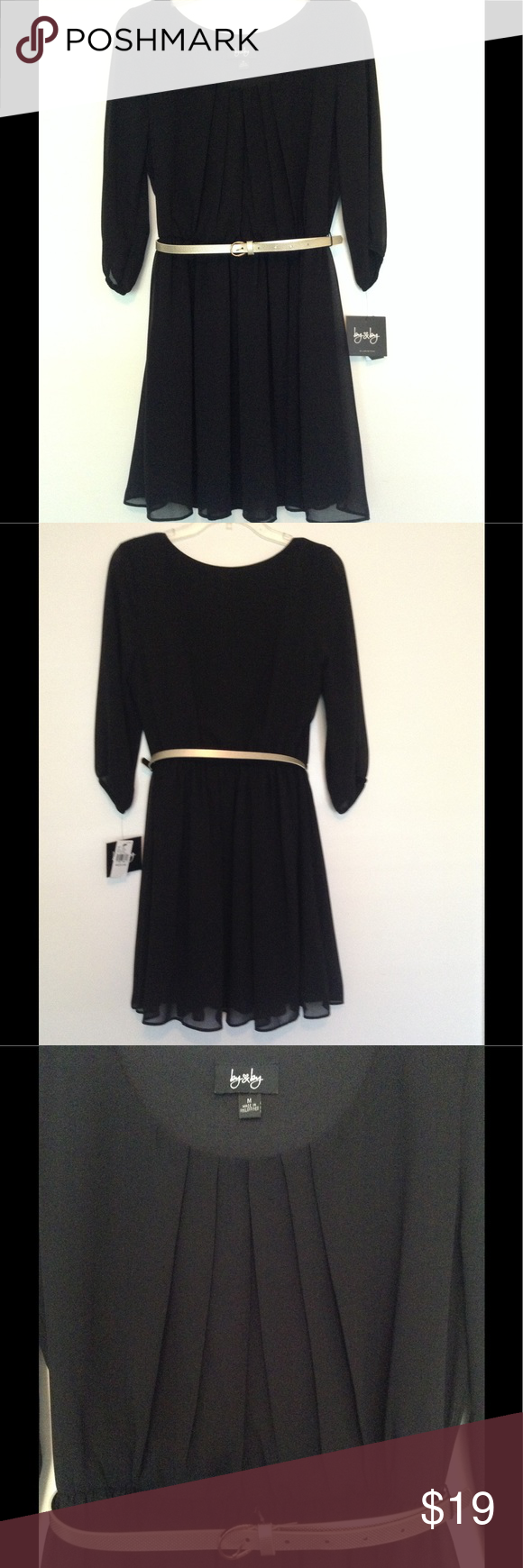 Nwt by u by black flowy dress with gold belt nwt gold belts