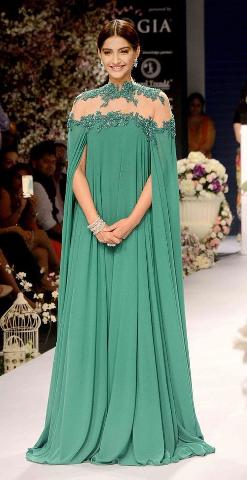 Evening Dress A-line Green Long Sleeves Appliques Chiffon Long Evening Dresses Prom Dress