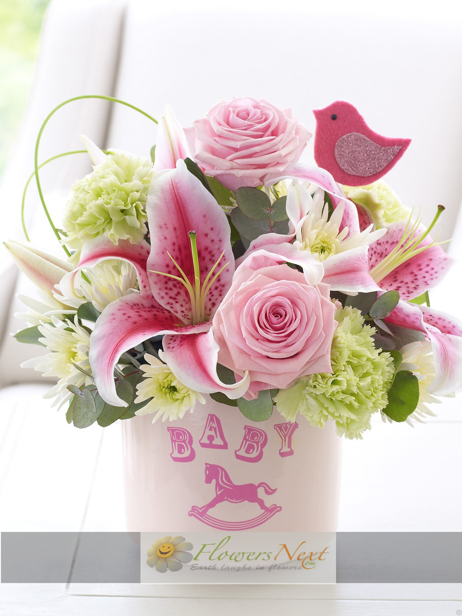 Send New Born Flowers to congratulate them and make them