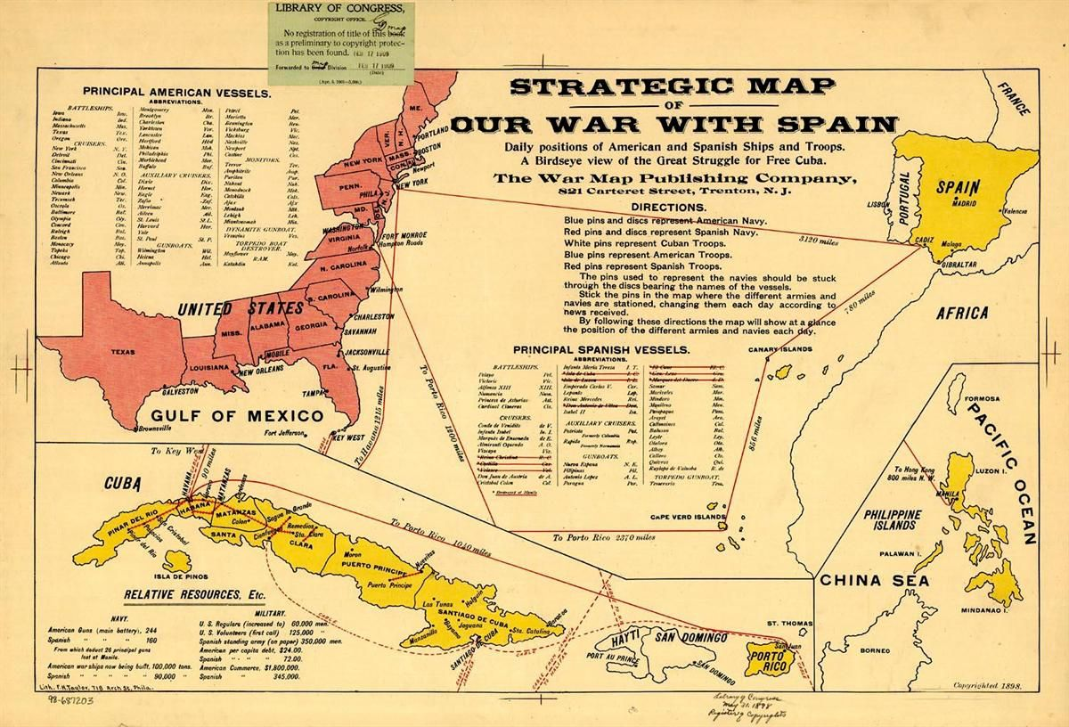 Map Of Spanish American War Genealogy The Spanish American War - Us-map-in-spanish