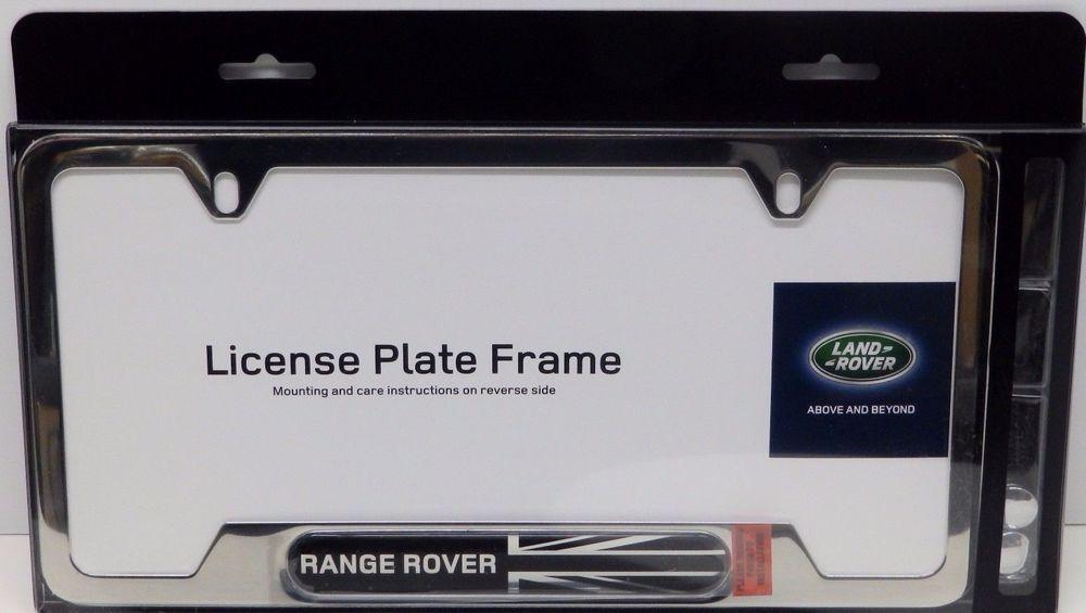 Range Rover Land Logo Black Finish Steel License Plate Frame Genuine ...