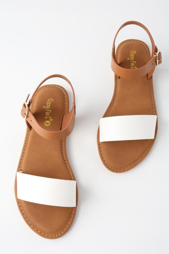 Taryn White Flat Sandals | Simple sandals, Sandals outfit