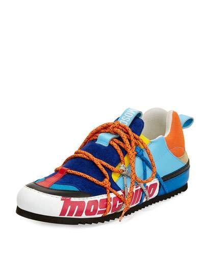 f4ee3d4ceaca MOSCHINO MEN'S LEATHER SPORT LACE-UP LOW-TOP SNEAKER, MULTI. #moschino # shoes #flats