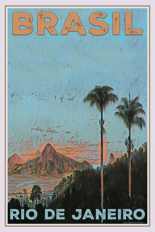 Vintage Poster Rio De Janeiro Brasil Affiche Retro Retro Travel Poster Vintage Travel Posters Travel Posters