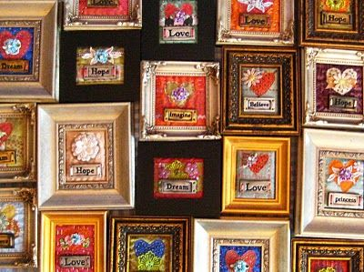 Tiny mixed media art quilts made by Cindy Dubbers at Crimson Heart Studios.
