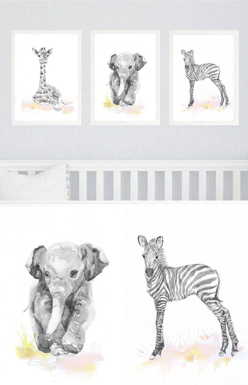 Neutral Nursery Decor, Set of 3 prints, Baby Animals