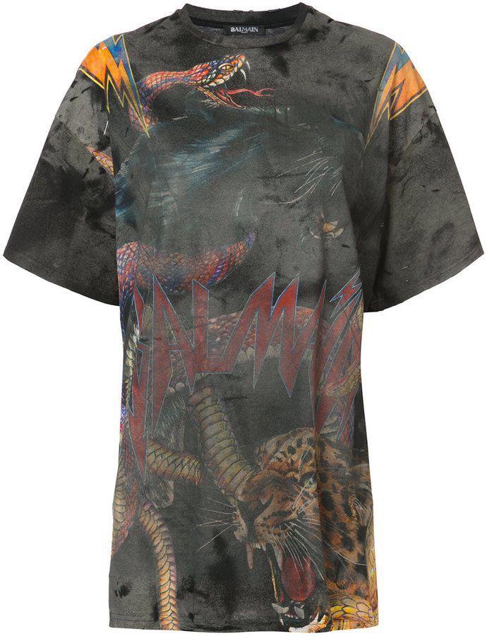 ec551acec Balmain oversized tiger print T-shirt   fashion pt 2   Tiger print ...