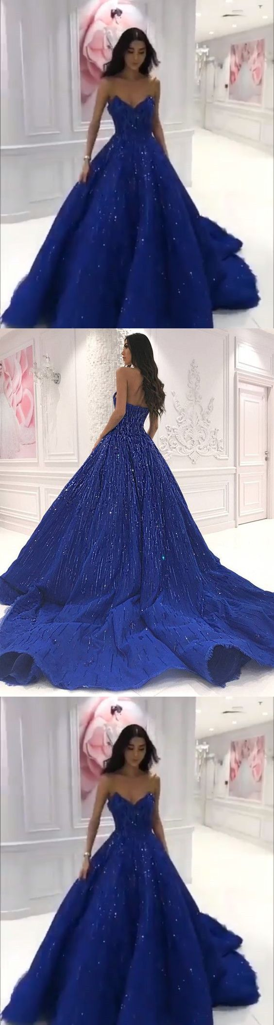 Royal blue sweetheart ball gowns for formal evening dreamy