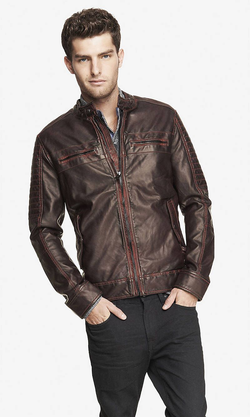 Minus The Leather Racer Jacket From Express Racer Jacket Pleather Jacket Clothes For Women [ 1334 x 800 Pixel ]