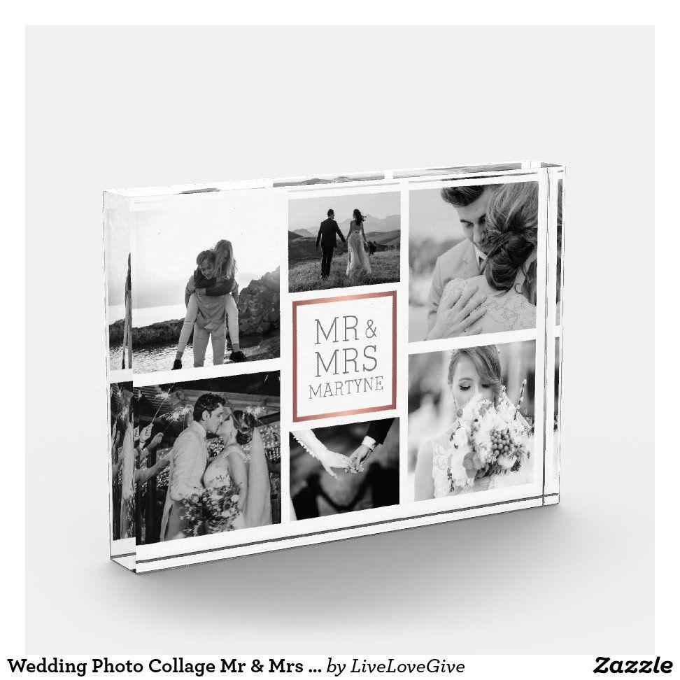 Wedding Photo Collage Mr & Mrs Black & White