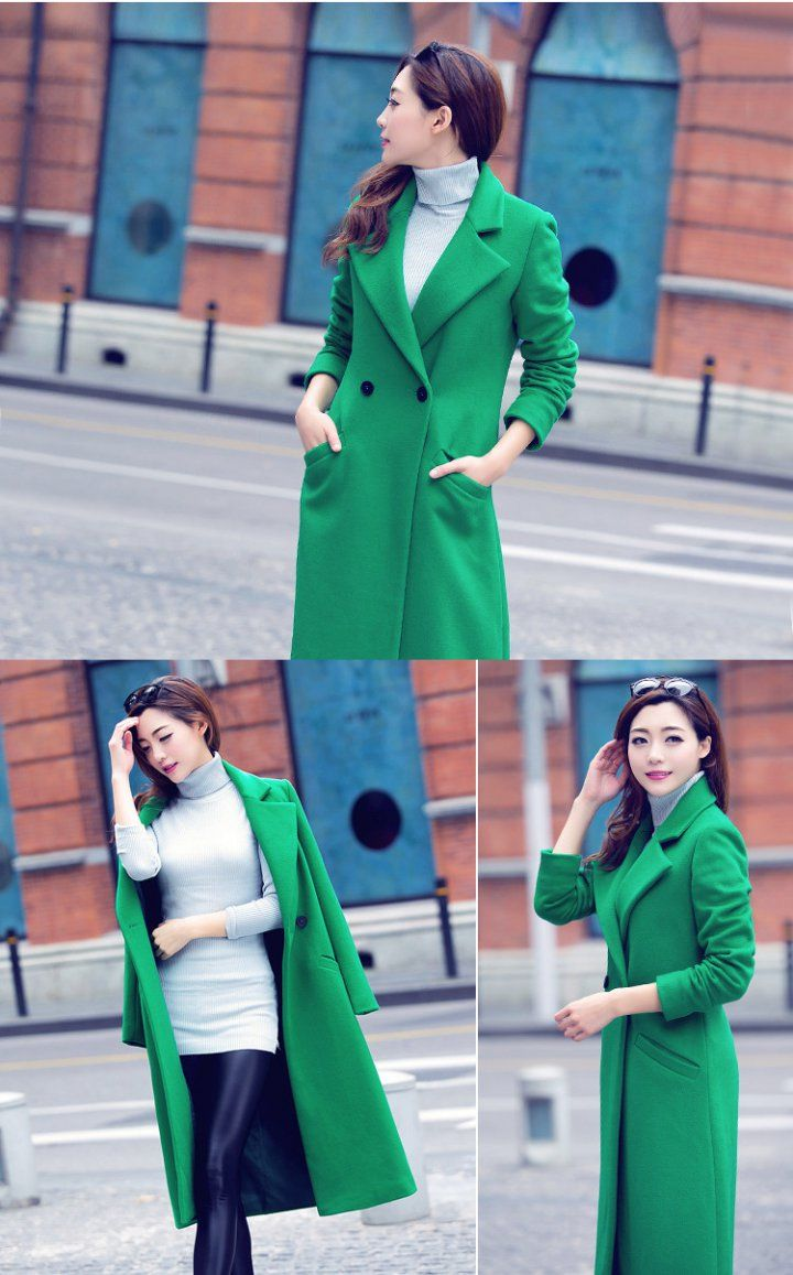 CW57870 Slim winter thick woolen coat exceed knee long overcoat
