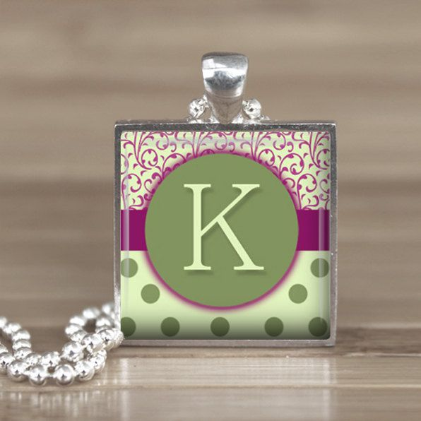 25mm Green Letter K Initial in a Silver Square by Aleareashop. $7.95, via Etsy.