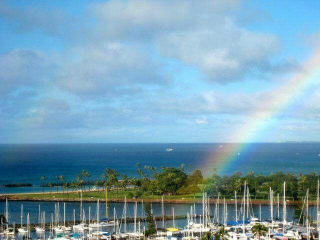 Rainbow over Ala Wai Boat Harbor and Magic Island  Hawaii
