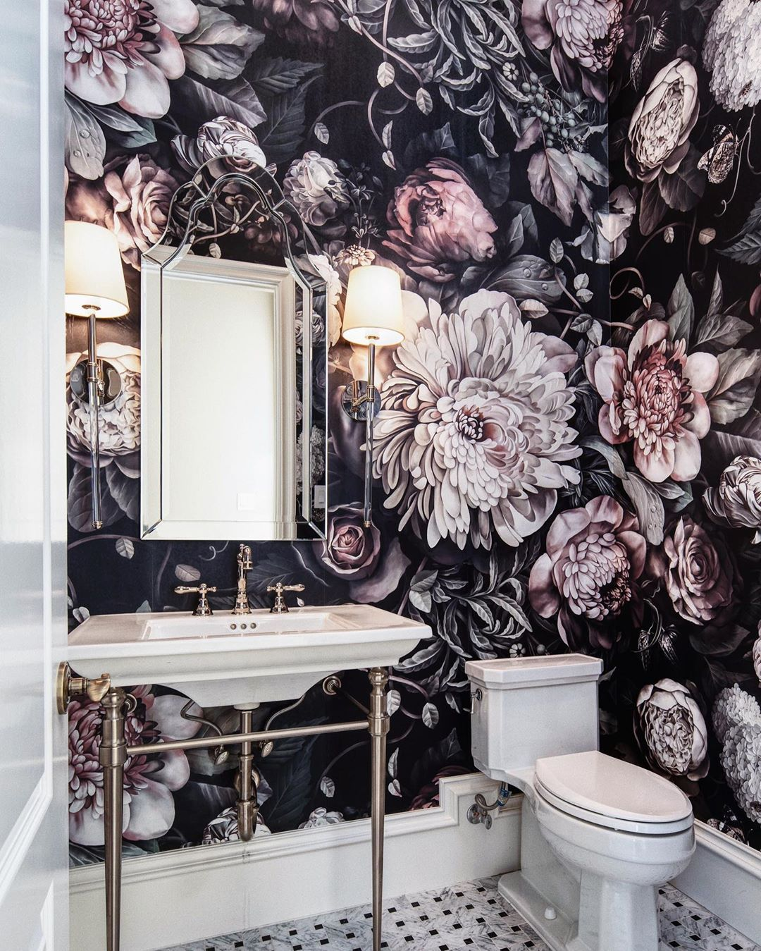 Dark Floral Ii Black Desaturated Xl 200 Wallpaper In 2020