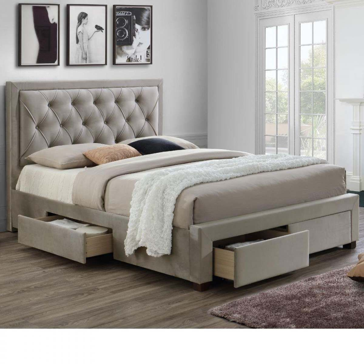 Woodbury Warm Stone Velvet Fabric 4 Drawer Storage Bed