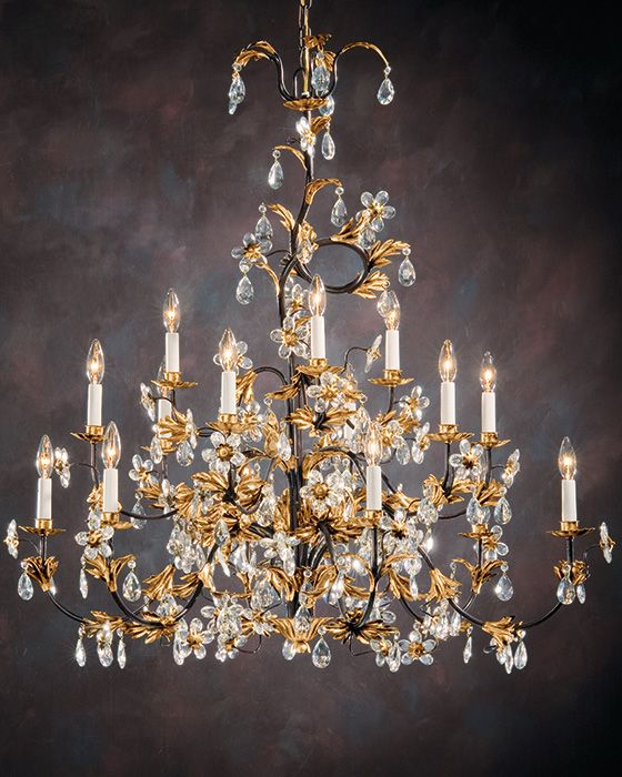Wrought Iron Chandelier With Italian Glass Flowers